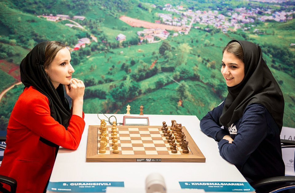 Sopiko Guramishvili plays Saradasat Khadmalsharieh in the tiebreak. The Georgian prevailed. Photo by Reza Mahdipour